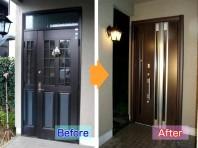 1.リフォーム玄関ドアはカバー工法で外壁補修など大掛かりな工事が不要です。