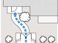 門扉から玄関が直線的のアプローチ