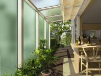 アウタールーフテラスAタイプ 正面デザインパネルと地面に隙間のあるタイプ