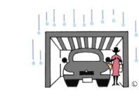駐車場に屋根があると、雨の日でも傘が必要なく便利。