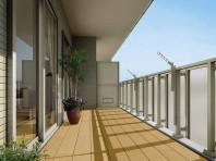 戸建て住宅だけでなくマンションにも使用可能なバルコニー用デッキ。