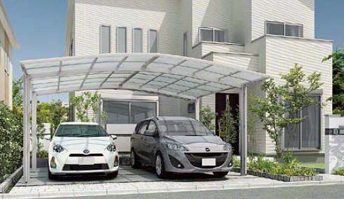 カーポート(工事費込) LIXIL ネスカR (ラウンドスタイル) ワイド(車庫 ガレージ 車用の屋根)