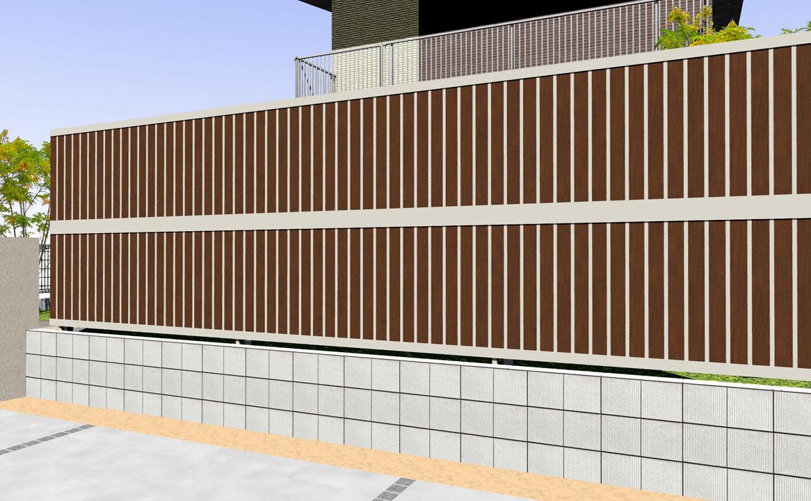 フェンス(工事費込) YKKAP ルシアスフェンスF01型 たて目隠し 木調カラー 2段支柱 自立建て用(目隠し )
