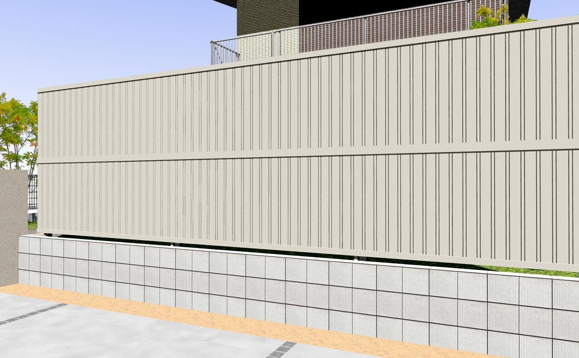フェンス(工事費込) YKKAP シンプレオフェンス6F型 たて目隠し 2段支柱 自立建て用(目隠し )