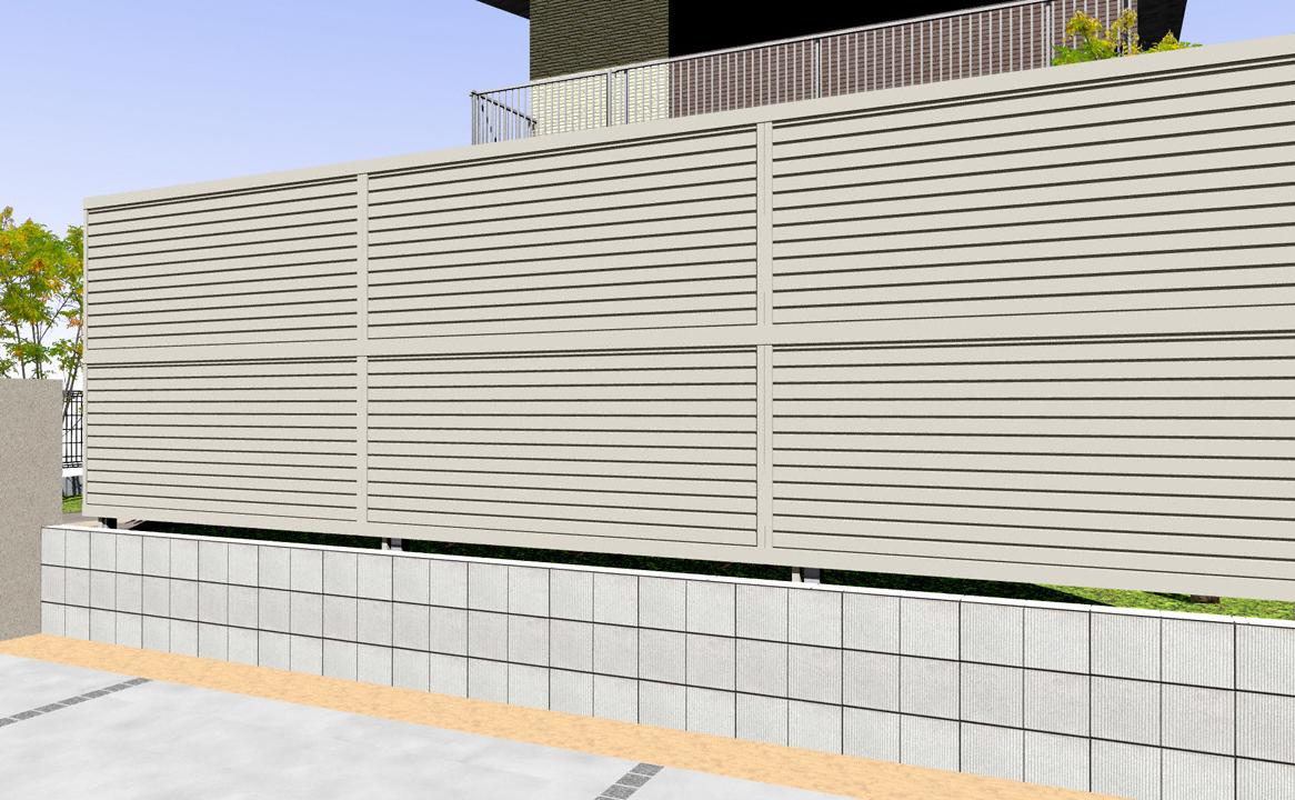 フェンス(工事費込) YKKAP シンプレオフェンス5F型 横目隠し 2段支柱 自立建て用(目隠し )
