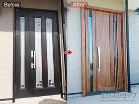 の玄関ドア リシェント玄関ドア3防火戸 断熱K4仕様 親子仕様(ランマ無)R M83型 ※タッチキー(キー付リモコン)仕様 施工例