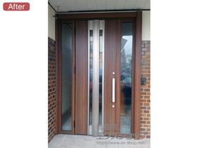 の玄関ドア リシェント玄関ドア3 断熱K4仕様 手動 両袖仕様(ランマ無)L G77型 施工例