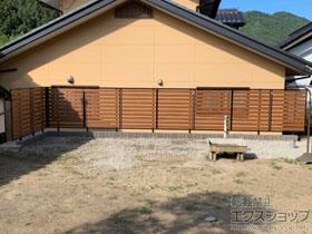 のフェンス・柵 ルシアスフェンスF04型 横板 木目カラー 自由柱施工 施工例